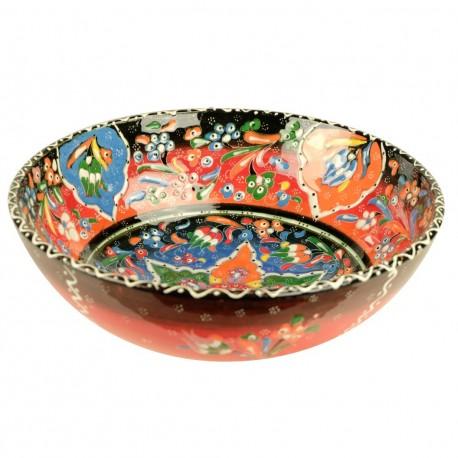 Artisanat oriental, bol orange en céramique turque colorée Hayri 25cm