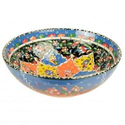 Bol coloré décoratif Hayri Bleu 25cm, poterie turque aux motifs ethniques fleuris multicolores