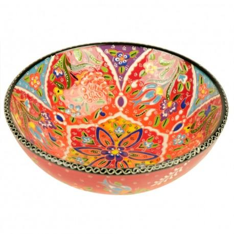 Bol ethnique rouge Veslan 20cm, en céramique décorée de fleurs