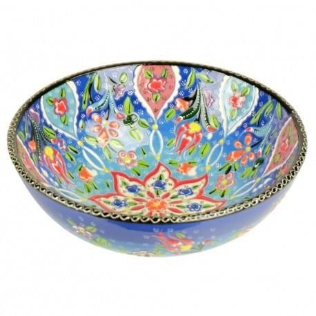 Bol ethnique coloré Veslan Bleu 20cm, poterie turque décorée de fleurs