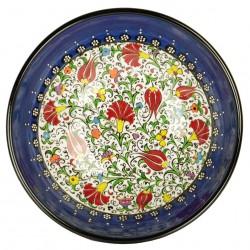 Céramique artisanale, Bol bleu Savas 20cm au décor fleuri