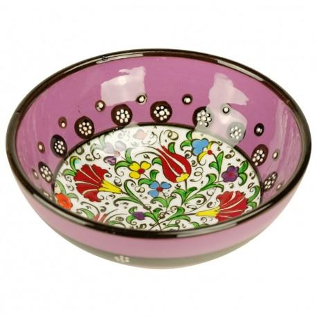 Décoration orientale, bol en faïence violet mauve Kadri Violet 15cm décoré de fleurs