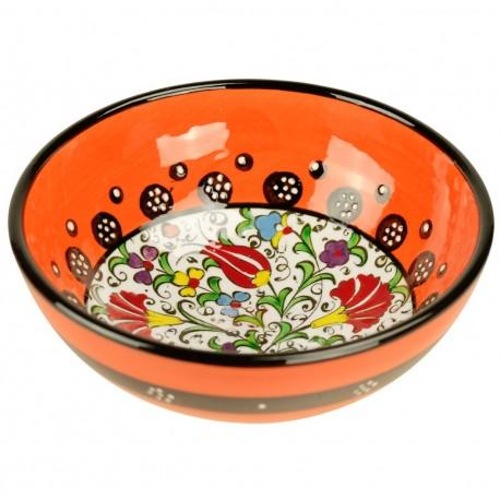 Vaisselle turque, bol orange Kadri 15cm avec fleurs (style Millenium oriental)