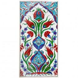 2 Carreaux Ceylan en faïence d'Iznik avec motifs floraux