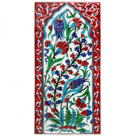 Tableau Kapi 20x40, 2 carreaux ottomans en faïence d'Iznik