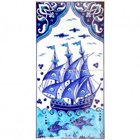 Cadeau original, carreaux d'Iznik Kalyon 20x40 décorés d'un bateau