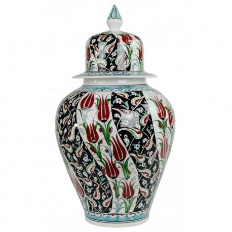 Céramique Turque, jarre Esari 30cm avec motifs floraux