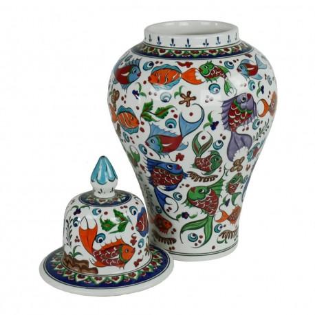 Décoration artisanale, pot en porcelaine turque Balik 40cm décorée de poissons