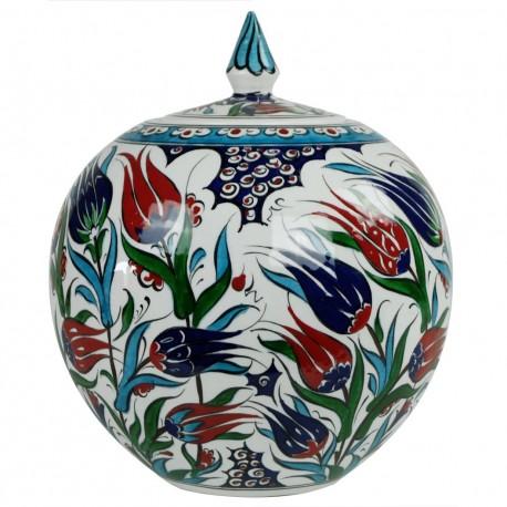 Cadeau atypique et artisanal, pot rond décoré de fleurs Ceylan 20cm