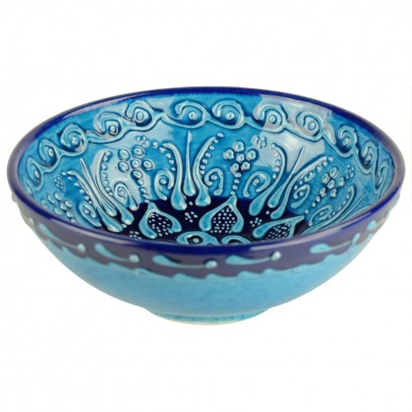 Bol turquoise en faïence orientale turque Tolga 15cm, décor en relief