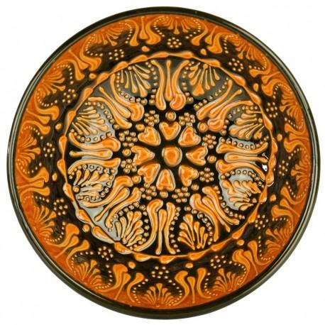 Bol décoratif orange Tolga 15cm, en céramique orientale avec motifs floraux