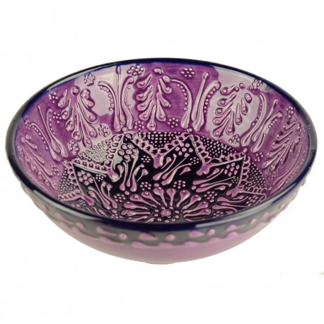 Bol artisanal violet en céramique turque Tolga 15cm, style Firuze