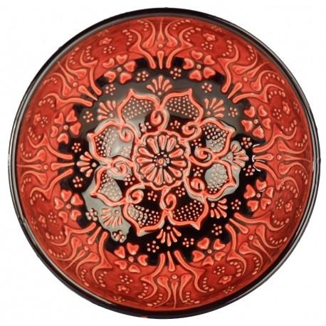 Bol rouge Tolga 15cm en céramique orientale turque avec motifs floraux