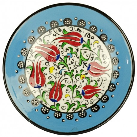 Décoration orientale, assiette bleue à la déco fleuire Kiraz Bleue 18cm