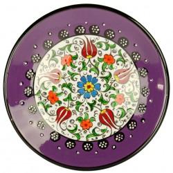 Assiette fait main violette Kiraz en céramique orientale artisanale