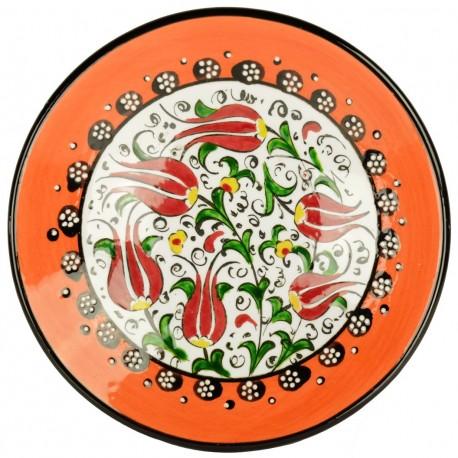 Assiette orange artisanale Kiraz 18cm en céramique orientale décorée de fleurs ottomanes