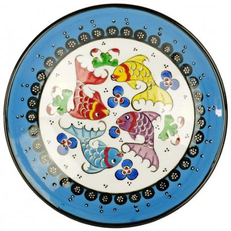 Assiette poisson bleue Kiraz, décoration ethnique orientale
