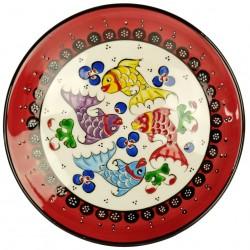 Assiette ottomane Kiraz rouge 18cm avec poissons