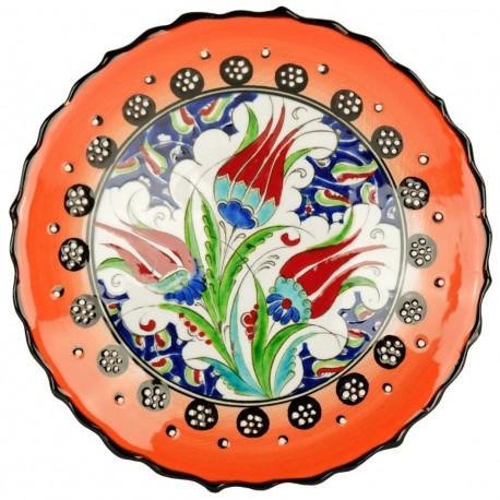 Vaisselle orientale, assiette orange Kiraz 18cm à bord chantourné et motifs floraux orientaux