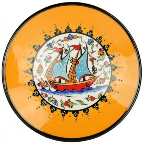 Assiette navire orange Kiraz, décoration orientale