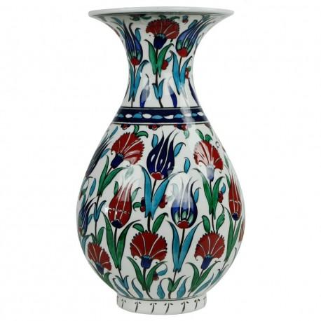 Vase Iznik décoratif fleuri Ceylan 30cm (blanc, vert, rouge, bleu)