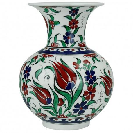 Vase fleuri oriental original Lalé 20cm en céramique d'Iznik