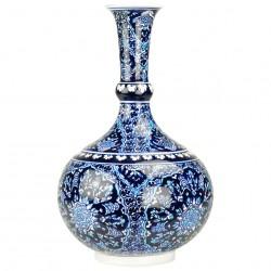 Soliflore bleu Bora 30cm, Vase à col étroit décoré d'oeillets