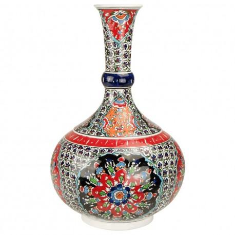 Soliflore rouge oriental ottoman Bora 30cm avec motifs floraux Iznik