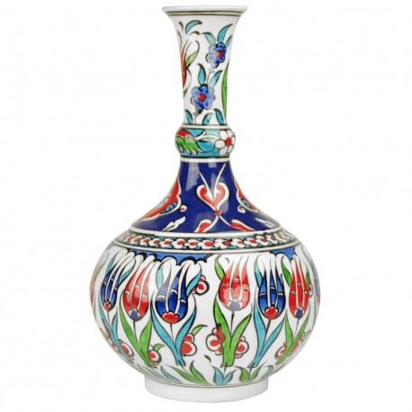 Soliflore ottoman Iznik Lalé 25cm avec motifs floraux