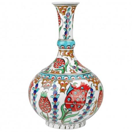 Vase Soliflore style Iznik Farik 25cm décoré de grenades
