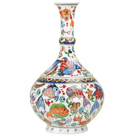 Grand soliflore déco en céramique, vase décoré de poissons Balik 30cm
