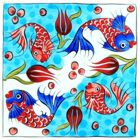 Carreau turquoise en faïence Balik 20x20 décoré de poissons (céramique de style Iznik)