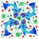 Carreau d'artisanat d'art Balik blanc 20x20 avec poissons (céramique de style Iznik)