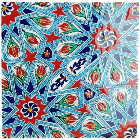 Carreau oriental ottoman Melis 20x20 avec motifs géométriques (style Iznik)