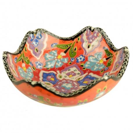 Bol oriental orange Nalan 15cm à bord chantourné et décor floral
