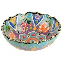 Bol déco colorée Nalan Bleu Cyan 15cm, bord chantourné et motifs floraux