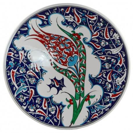 Plat iznik Filiz 30cm, céramique d'art décorée d'une tulipe