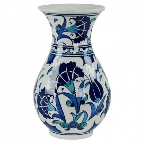 Petit vase oriental Necla 15cm décoré de motifs floraux bleus