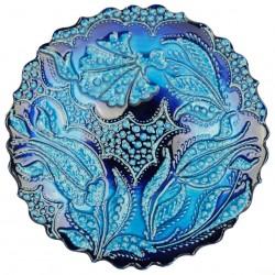 Assiette artisanale Emel turquoise 18cm