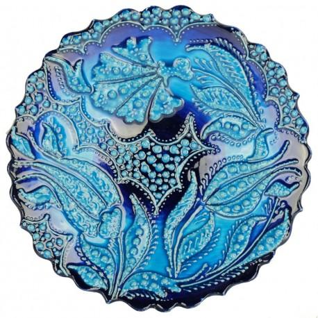 Assiette artisanale bleu turquoise orientale Emel avec motifs floraux