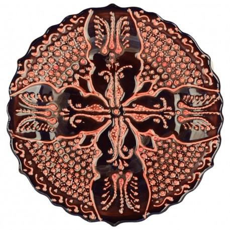 Assiette ethnique orientale Emel Rouge 18cm avec motifs géométriques