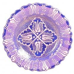Assiette orientale ottomane Emel Violette 18cm avec motifs floraux (style Firuze)