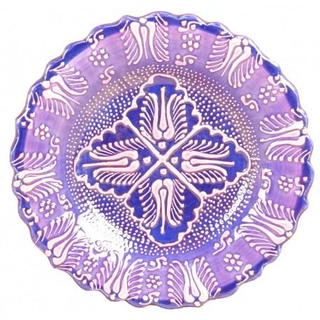 Assiette orientale ottomane Emel Violette 18cm avec motifs floraux (style Céramique en Relief Firuze)
