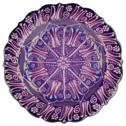 Assiette en poterie turque Aylin Violette 25cm avec motifs floraux (style Céramique en Relief)