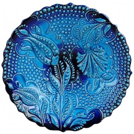 Assiette murale bleu turquoise Aylin, faïence avec motifs en relief