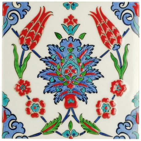 Carreau Iznik Lalé 20x20, artisanat d'art ottoman turc