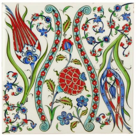 Carreau deco Ceylan 20x20 au décor fleuri d'Iznik (céramique turque ottomane)