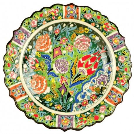 Assiette turque en céramique Deniz verte 25cm décorée de fleurs colorées