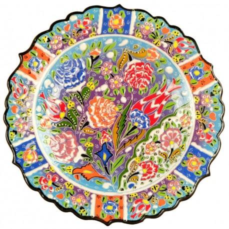 Assiette multicolore orientale Deniz Bleue 25cm avec motifs fleuris (style faïence turque en relief)