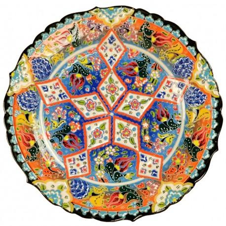 Assiette orientale multicolore Deniz, céramique turque avec motifs floraux